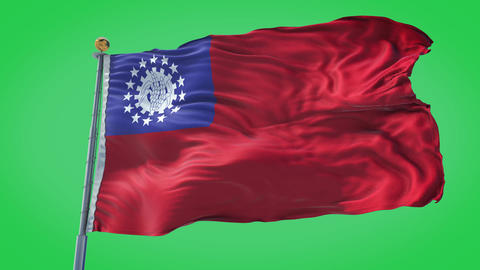 Myanmar Burma animated flag pack in 3D and isolated background Animation