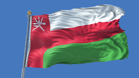 Oman animated flag pack in 3D and isolated background Animation