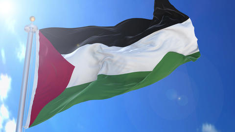 Palestine animated flag pack in 3D and isolated background Animation