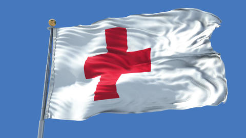Red Cross animated flag pack in 3D and isolated background Animation