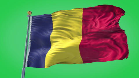 Romania animated flag pack in 3D and green screen Animation
