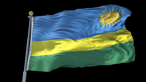 Rwanda animated flag pack in 3D and isolated background Animation