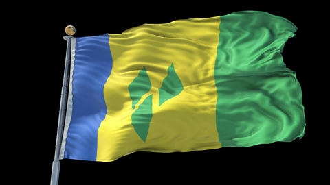 Saint Vincent and the Grenadines animated flag pack in 3D and isolated backgr Animation