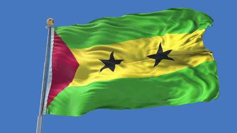 Sao Tome and Principe animated flag pack in 3D and isolated background Animation