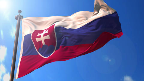 Slovakia animated flag pack in 3D and green screen Animation