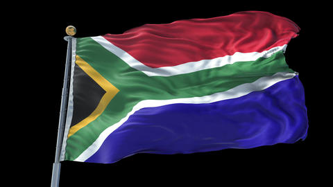 South Africa animated flag pack in 3D and isolated background Animation