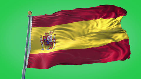 Spain animated flag pack in 3D and green screen Animation