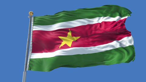 Suriname animated flag pack in 3D and isolated background Animation