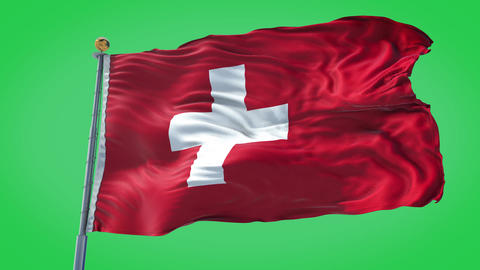 Switzerland animated flag pack in 3D and green screen Animation