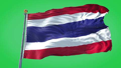 Thailand animated flag pack in 3D and isolated background Animation