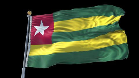 Togo animated flag pack in 3D and isolated background Animation