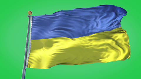 Ukraine animated flag pack in 3D and green screen Animation