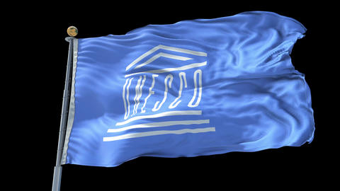 UNESCO animated flag pack in 3D and isolated background Animation