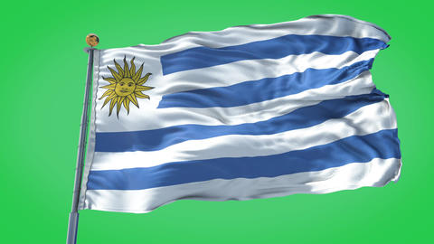 Uruguay animated flag pack in 3D and green screen Animation