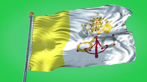 Vatican animated flag pack in 3D and green screen Animation