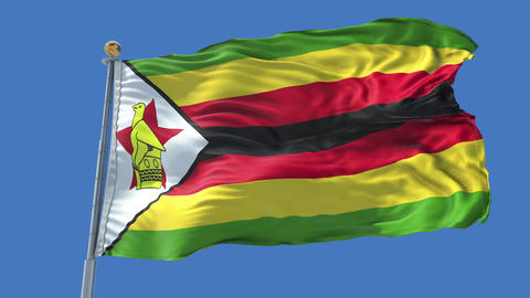 Zimbabwe animated flag pack in 3D and isolated background Animation