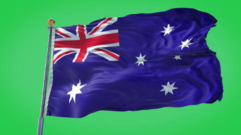 Australia animated flag pack in 3D and green screen Animation