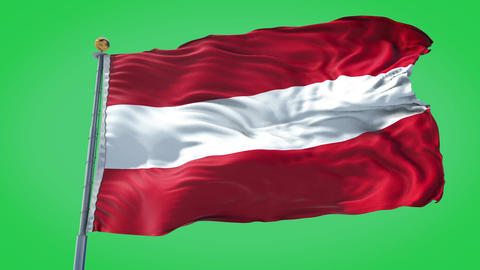 Austria animated flag pack in 3D and green screen Animation