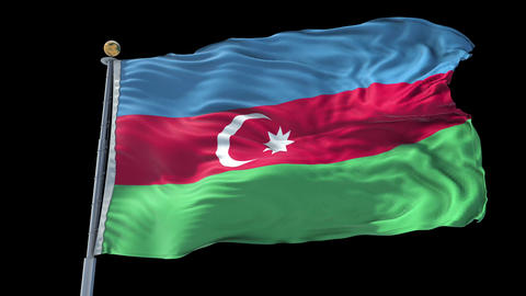 Azerbaijan animated flag pack in 3D and isolated background Animation