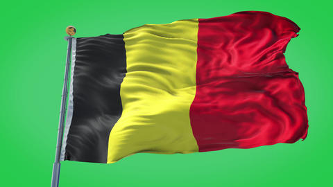 Belgium animated flag pack in 3D and green screen Animation