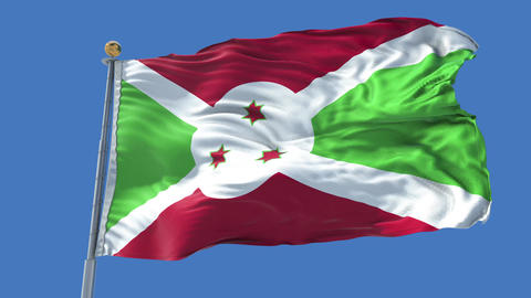 Burundi animated flag pack in 3D and isolated background Animation