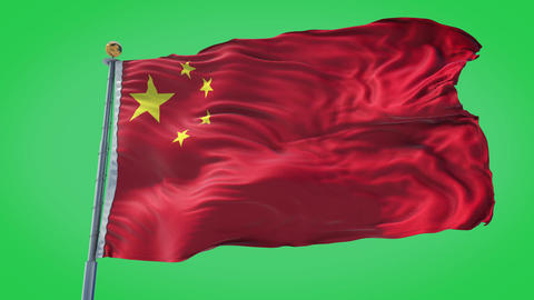 China animated flag pack in 3D and green screen Animation