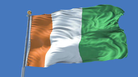 Cote d lvoire animated flag pack in 3D and isolated background Animation