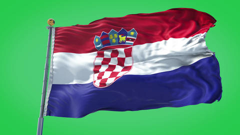 Croatia animated flag pack in 3D and green screen Animation