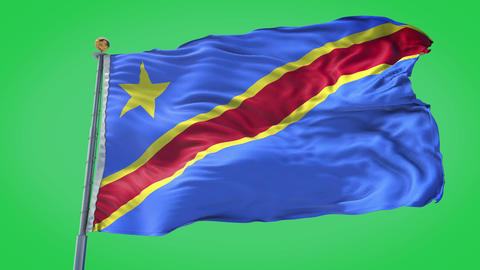 Democratic Republic of Congo animated flag pack in 3D and green screen Animation