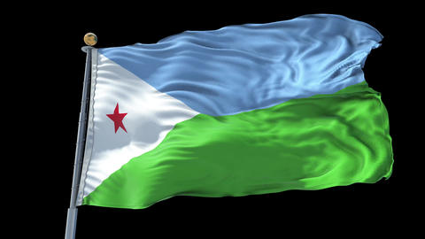 Djibouti animated flag pack in 3D and isolated background Animation