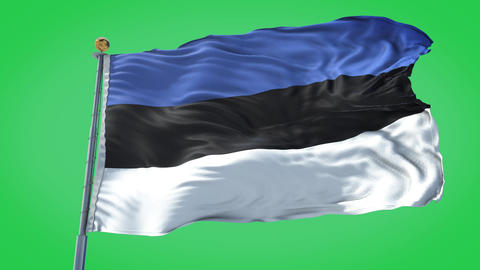 Estonia animated flag pack in 3D and green screen Animation