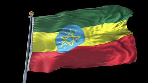 Ethiopia animated flag pack in 3D and isolated background Animation