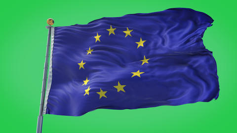 European Union animated flag pack in 3D and green screen CG動画