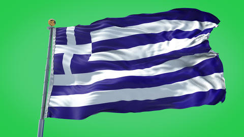 Greece animated flag pack in 3D and green screen Animation