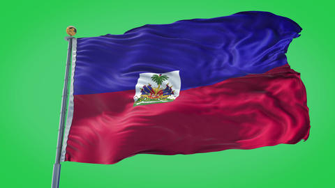 Haiti animated flag pack in 3D and green screen Animation