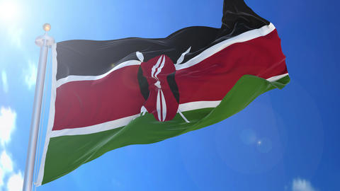 Kenya animated flag pack in 3D and isolated background Animation