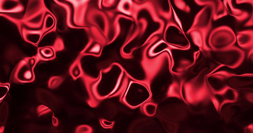 Red metallic wave liquid background. Glamour satin lava texture 3D rendering Animation