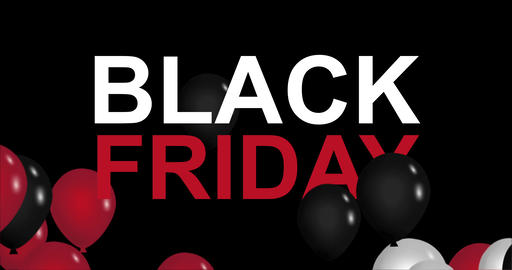 Black Friday advertisement with red, white and black balloons, background 4k Animation