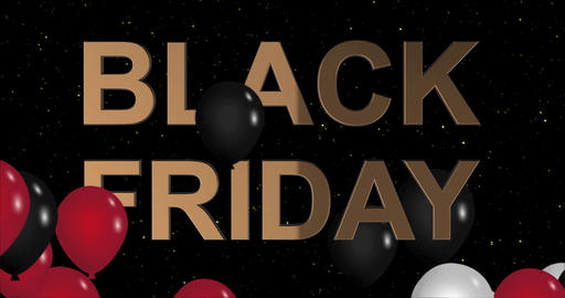 Black Friday advertisement with golden sign and black and red balloons Animation