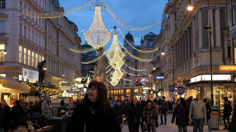 Christmas decorations Shoppings Streets decorated with chandeliers in old town Live Action