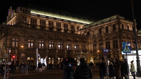 Christmas decorations Opera decorated with chandeliers in old town Vienna Footage