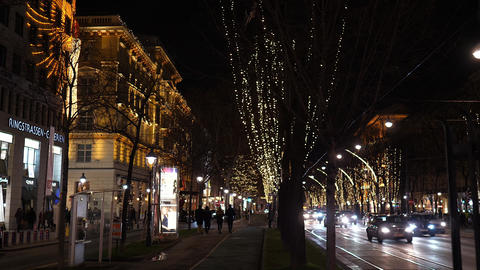 Christmas decorations Shoppings Streets decorated with chandeliers in old town Footage