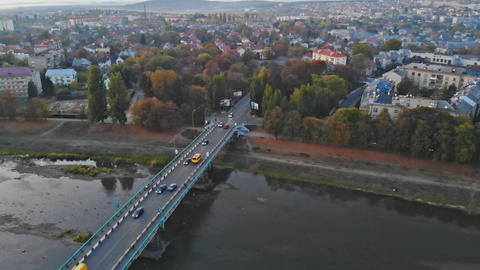small town panoramic view from above in the autumn Uzhhorod Ukraine Europe Live Action