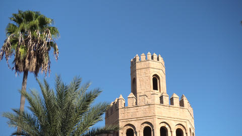 An old tower stands next to palm trees. Arab country. Old yellow bricks. Bottom Live Action