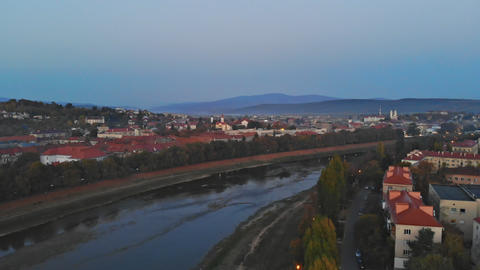 Panoramic view Uzhhorod Ukraine Europe on a small city over the Uzh River at Live Action