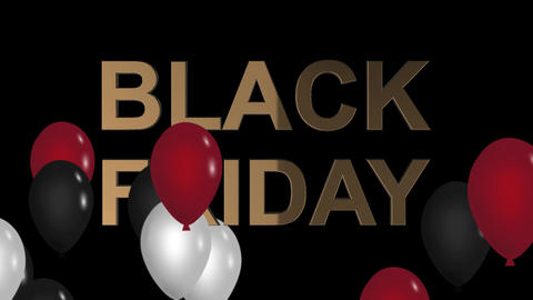 Black Friday advertisement with golden sign red, white and black balloons Animation