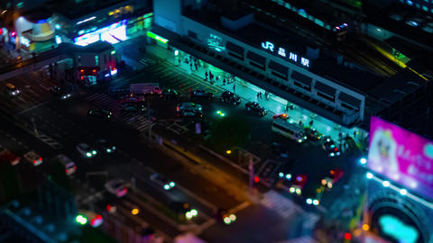 A night timelapse of panoramic view at the urban city in Tokyo high angle Live Action