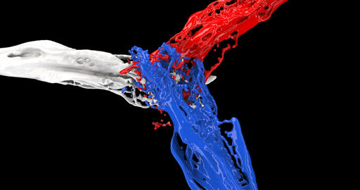 Colored jets of paint. The red, white, and blue fluids collide and mix Live Action