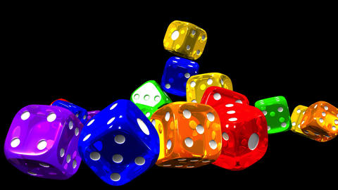 Colorful Dice On Black Background Animation