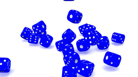 Blue Dice On White Background CG動画